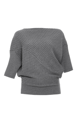 Medium j w anderson dark grey ribbed wool twist tee