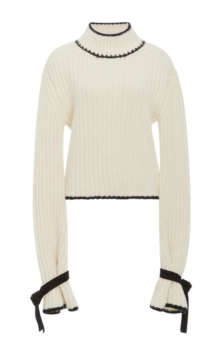 Medium j w anderson off white mockneck pullover sweater