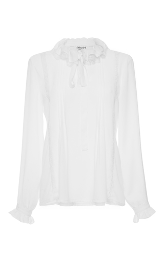 Long Sleeve Lace Insert Blouse  by BLUGIRL for Preorder on Moda Operandi