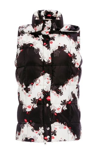 Medium emilio pucci black white sleeveless floral printe down vest