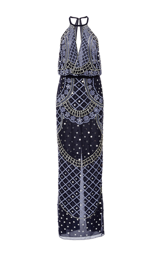 Medium temperley london blue kekipi beaded maxi dress
