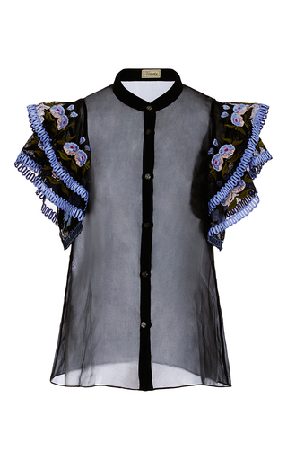 Medium temperley london black elette floral detail shirt