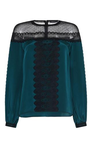 Medium andrew gn navy bottle lace inset silk blouse