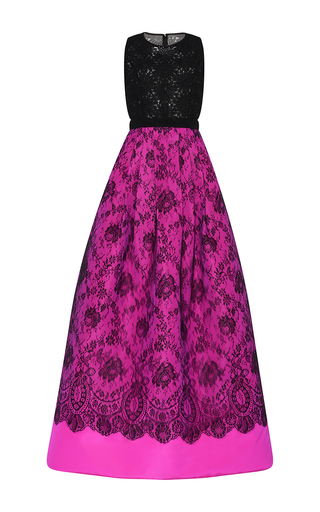Medium andrew gn fuchsia bicolor sleeveless lace gown