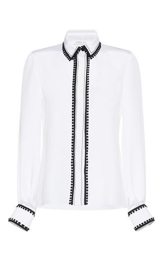 Medium andrew gn white pom pom silk button up shirt
