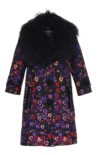 Medium andrew gn floral floral jacquard coat with mongolian fur collar