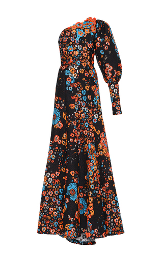 Medium andrew gn floral orange architectural sleeve floral gown