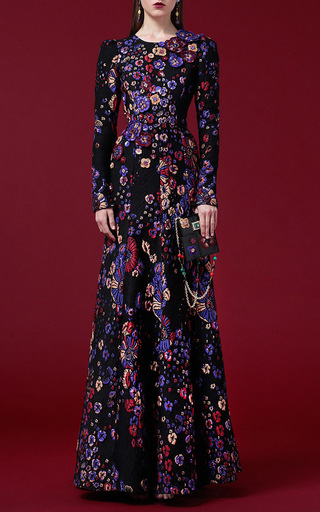 Medium andrew gn floral purple long sleeve floral jacquard gown