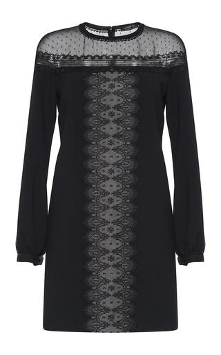 Medium andrew gn black lace inset blouson dress