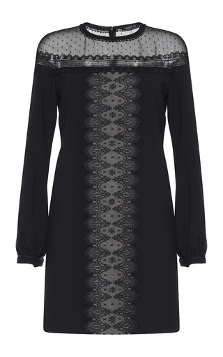 Medium andrew gn black lace inset blouson dress