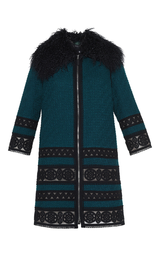 Medium andrew gn navy passementerie trim coat with mongolian fur collar