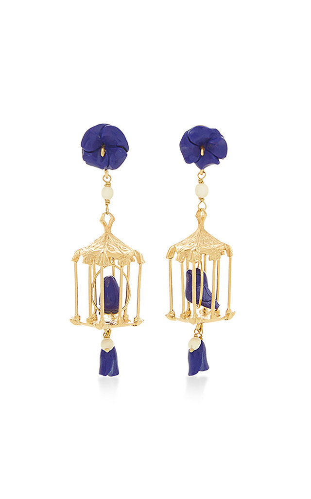 OF RARE ORIGIN PAGODA 18K YELLOW GOLD VERMEIL LAPIS AND WHITE AGATE EARRINGS
