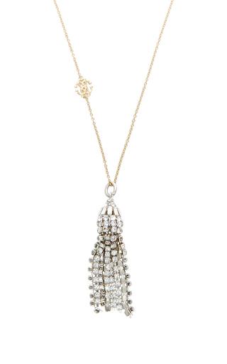 Medium roberto cavalli gold crystal tassel pendant necklace