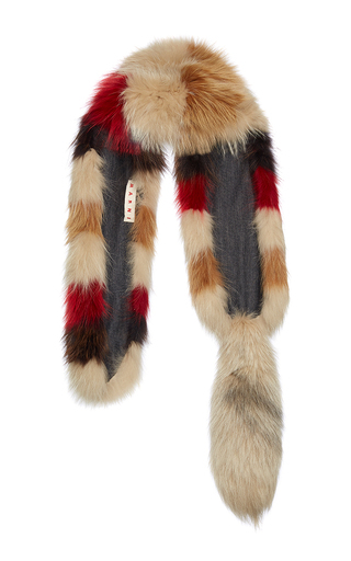 Striped Fox Fur Stole by MARNI Now Available on Moda Operandi