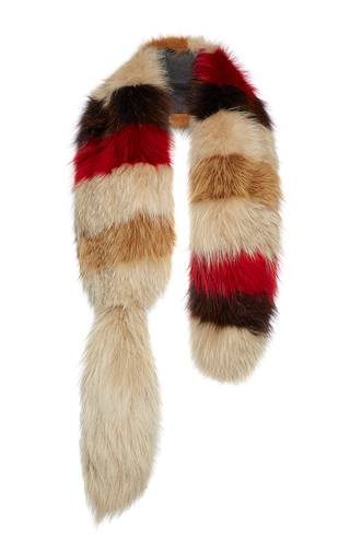 Medium marni multi striped fox fur stole
