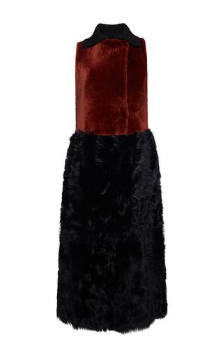 Medium marni black sleeveless shearling dress