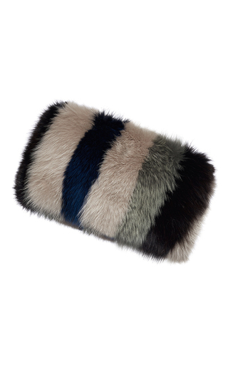 Medium marni multi striped fox fur banded stole