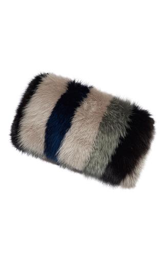 Medium marni multi striped fox fur banded stole