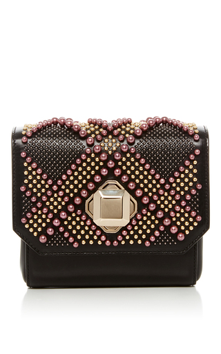 Medium elie saab black beaded box clutch