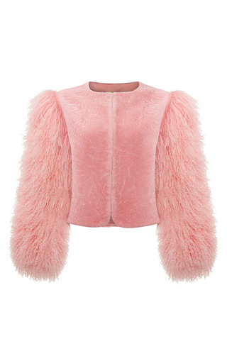 Medium charlotte simone pink big bird bomber jacket
