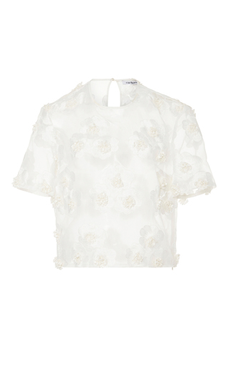Medium cacharel  2 white sheer floral blouse 2
