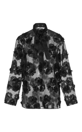 Medium cacharel  2 black sheer floral blouse