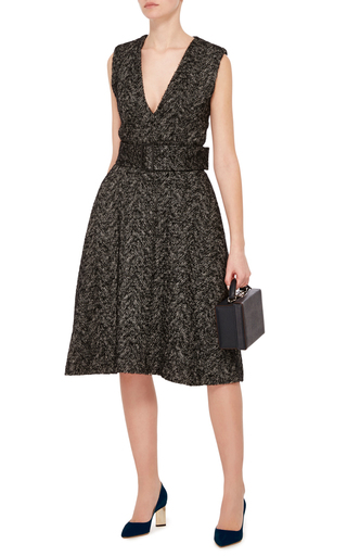 Tweed V Neck Dress by CACHAREL Now Available on Moda Operandi