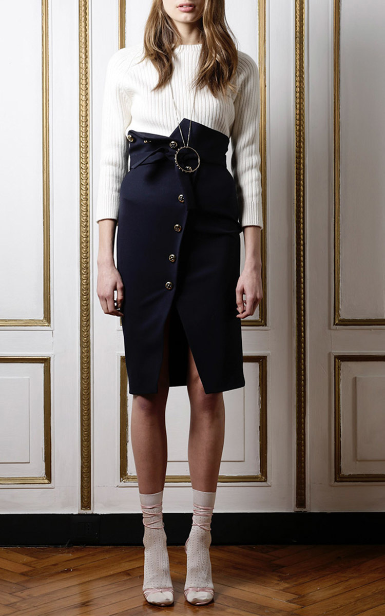 Stretch Wool Button Front Pencil Skirt By Francesco Moda