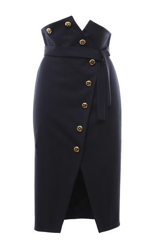 Medium francesco scognamiglio black stretch wool button front pencil skirt
