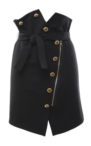 Stretch Wool Button Front Mini Skirt by FRANCESCO SCOGNAMIGLIO for Preorder on Moda Operandi
