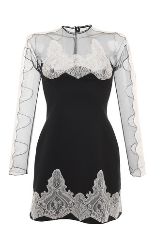 Medium francesco scognamiglio black stretch wool mini dress with lace inset