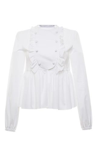 Cotton Popeline Long Sleeve Peplum Blouse by FRANCESCO SCOGNAMIGLIO for Preorder on Moda Operandi