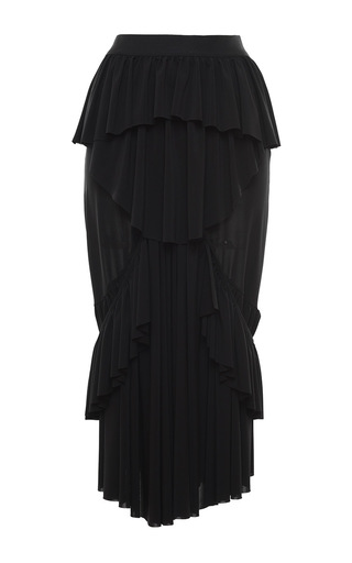 Medium francesco scognamiglio black jersey layered cascade midi skirt