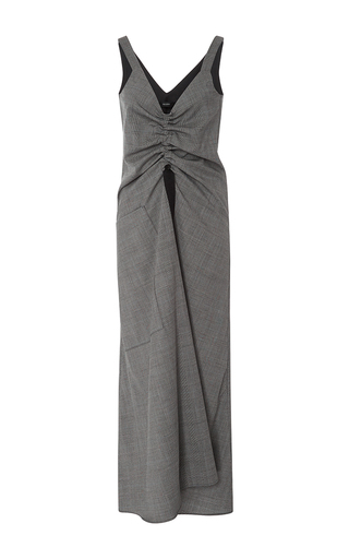 Medium ellery light grey burlesque ruched suiting dress