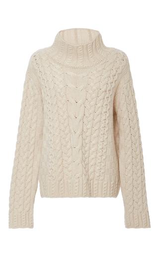 Medium vilshenko tan sally cable knit sweater