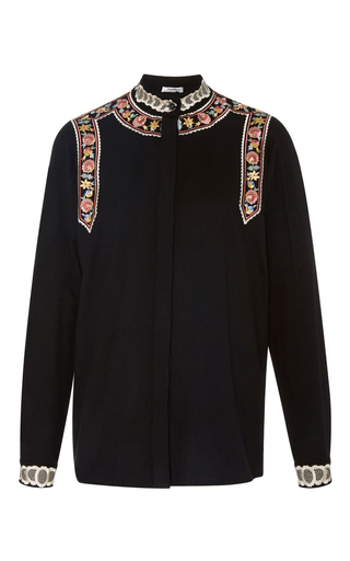 Medium vilshenko black rachel floral embroidered shirt