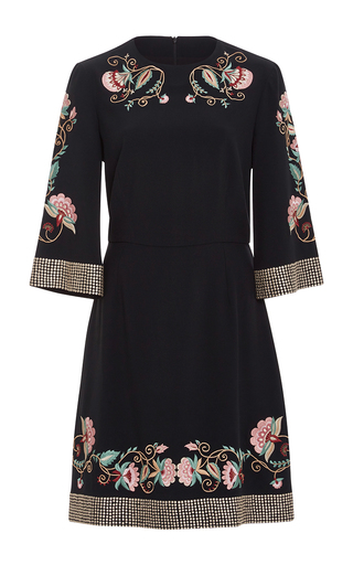 Medium vilshenko black alessia jacobean embroidered dress