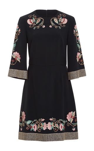 Medium vilshenko black alessia jacobean embroidered dress