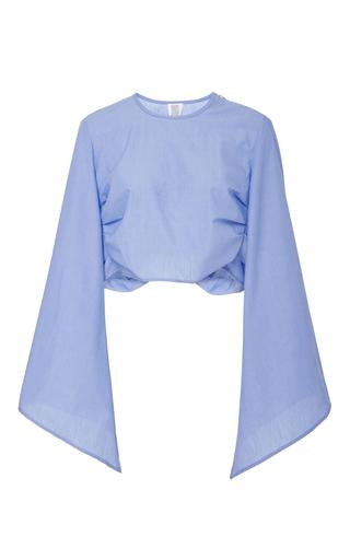 Medium rosie assoulin light blue bell sleeved crop top