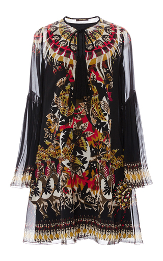 Medium roberto cavalli black silk printed mini dress