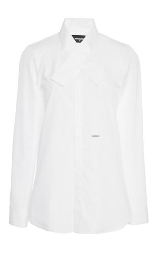 Medium dsquared2 white kimono collar poplin shirt