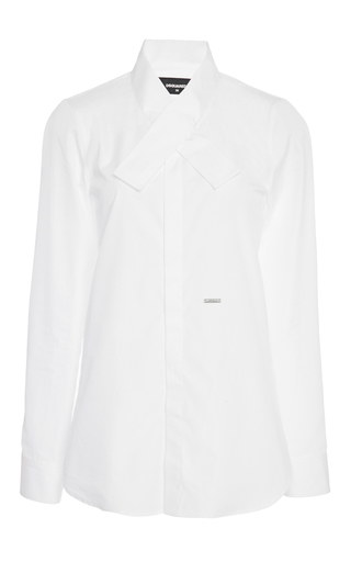 Medium dsquared2 white kimono collar poplin shirt