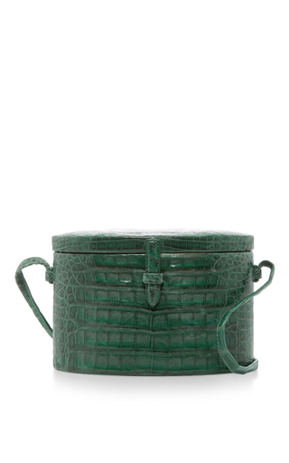 Medium hunting season green crocodile round trunk bag