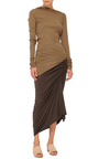 Ruched Midi Skirt by RICK OWENS LILIES Now Available on Moda Operandi