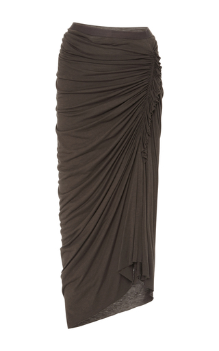 Medium rick owens lilies dark grey ruched midi skirt