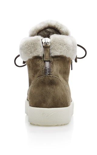 Shearling High Top Sneakers by GIUSEPPE ZANOTTI Now Available on Moda Operandi