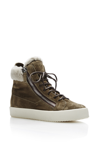 Medium giuseppe zanotti dark grey shearling high top sneakers