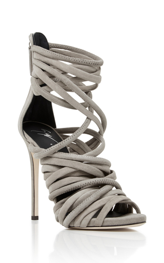 Medium giuseppe zanotti light grey wrap heel