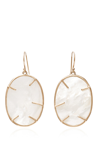 Medium annette ferdinandsen gold silver dollar mother of pearl earrings