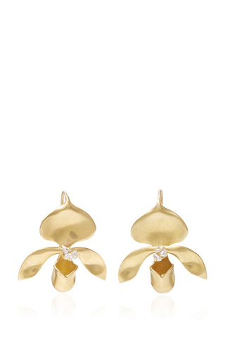 Medium annette ferdinandsen gold keshi pearl lady slipper earrings